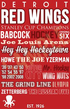 Detroit Red Wings Typography Art Canvas or Poster by SarasPrints