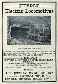 Vintage Locomotives | Vintage Advert for the Jeffrey Locomotives, Columbus, Ohio - 1904 ...