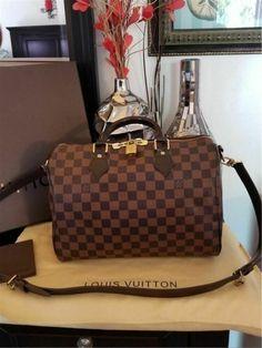 117045ad43fb AUTHENTIC Louis Vuitton Speedy 30 Bandouliere Damier Ebene - LV Speedy B   fashion  clothing