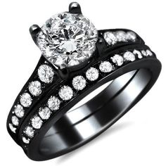 1.85ct Natural Round Diamond Engagement Ring Bridal Set 14k Black Gold Rhodium Plating Over White Gold with a .70ct Center Diamond and 1.15ct of Surrounding Diamonds Front Jewelers