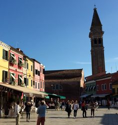 Main Square Burano. Their tower also leans