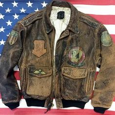 '87 Distressed Leather Avirex Type A-2 Patched Flight Jacket