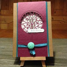 """Window Flip Card (Idea Julie Davisons). Stanze """"Alessandria Tree (98877)"""" von Memory Box & Stampin' Up!®"""