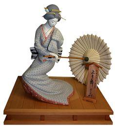 Japoński majstersztyk Hakata gliny figurki taniec młodej gejszy z parasolem