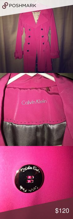 CALVIN KLEIN STUNNING PINK TRENCH COAT! CALVIN KLEIN STUNNING PINK TRENCH COAT! It's also water repellent! Belted, with gorgeous silver button detail! Brand new, with tags! Calvin Klein Jackets & Coats Trench Coats