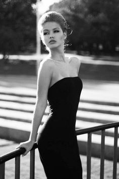 #Style for the woman - dressed in black dress. Simply chic.