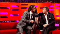 Gerard Butler leaning over Karen Gillan to kiss Martin Freeman on the cheek [gif]