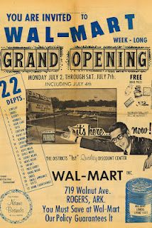 1962 when Sam Walton opened his first store at 719 Walnut Avenue in Rogers, Ark First ever Wal-Mart ad..and it all started...