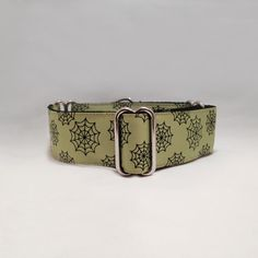 1.5 inch Martingale Collar Green Spiderweb Halloween Grosgrain Ribbon by fabcollarhounds, $19.99