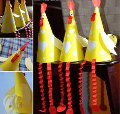 Vouw van papier een kegel, en maak je eigen kip. Leuk voor pasen of om op school te doen.: