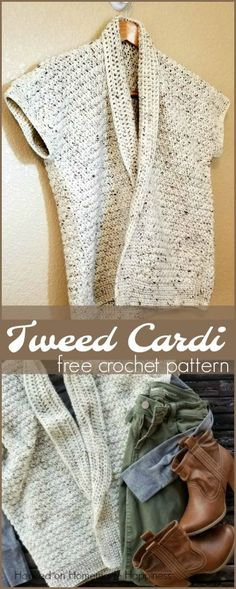 Crochet Cardigan tweed cardigan crochet pattern - The Tweed Cardi Crochet Pattern is made with the pretty suzette stitch. For added texture and design, I used Caron Simply Soft Tweeds. Gilet Crochet, Crochet Cardigan Pattern, Crochet Shawl, Crochet Stitches, Knit Crochet, Crochet Patterns, Crochet Sweaters, Crochet Vests, Crochet Tops