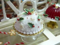 Snow Dome Christmas Cake - 12th Scale Miniature Food