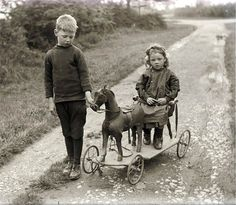 Boy and Girl w Wooden Horse Toy Vintage Photo Print Vintage Children Photos, Vintage Pictures, Old Pictures, Vintage Images, Old Photos, Antique Photos, Vintage Photographs, Wooden Horse, Antique Toys