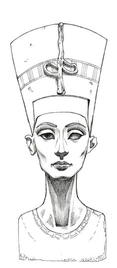 Nefertiti Sketch | Nefertiti Lines by ~MyBonsaiPatroclo on deviantART Isis digital art drawing egyptian goddess