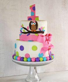 gateau-anniversaire-thematique-bébé-fille-pois-ruban-hibou