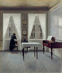 Danish Interior. Painting by Danish Artist Vilhelm Hammershoi (1864-1916)