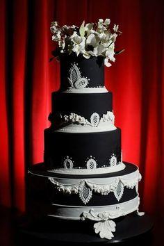 White on black cake
