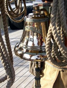 """earthlyenchantment: """" (via Nautical by Design: Handmade Bellropes and Lanyards- A Sailor's Art) Schooner Virginia ship's bell with lanyard. Photo by Diane Murphy. """""""
