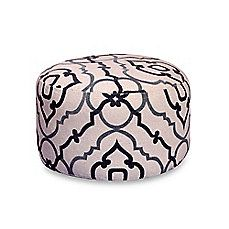 image of Cannes 24-Inch Round Pouf in Grey