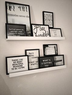 I love how the frames are all different sizes, and set on the shelves rather than hun on the wall...