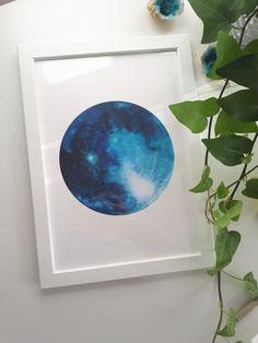 Watercolour Blue Full Moon ~ Astrology Aesthetics Illustration Series~