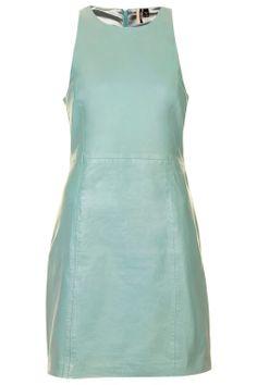 Green leather summer dress