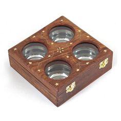Wooden Sheesham Dry Fruit Box 4 bowl 8 inch