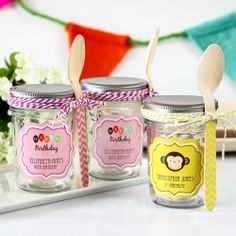 Personalized Birthday Mini Mason Jars by Beau-coup.i m getting these S PARTY FAVORS FOR MY BDAY PARTY GUESS.DO U LIKE?
