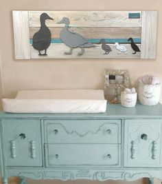 Duck Nursery Wall Art- Grey ducks/Turquoise stripe- Family of 5- Parade of…