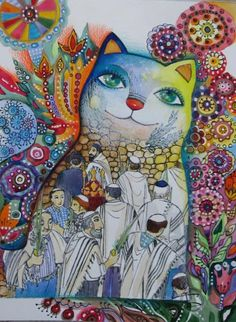 Chat ****Le Loulav*** - Painting,  24x32 cm ©2008 von Oxana Zaika -  Malerei