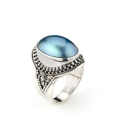 Blue & Gray Mabe Pearl Balinese Statement Ring by Samuel B.