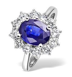 Engagement Rings made of White Gold with Blue Sapphire and Diamond Diana Engagement Ring, Tanzanite Engagement Ring, Sapphire Diamond Engagement, Celebrity Engagement Rings, Blue Sapphire Rings, Sapphire Stone, Purple Diamond, Emerald Rings, White Sapphire