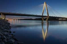 This image is of the Christopher S Bond Bridge. This bridge crossing the Missouri River was opened in the fall of 2010. It is sometimes called the New Paseo Bridge since it was a replacement for the Paseo Bridge.
