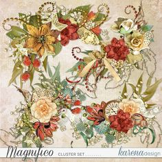 Digital Scrapbooking, Floral Wreath, Shop, Collection, Design, Decor, Bright Colours, Laminas Para Decoupage, Appliques
