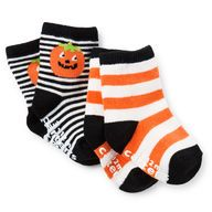 A smiling pumpkin and classic orange stripes makes these Halloween socks perfect for baby's first spooky celebration. Pair with footless sleep & play for an outfit that's too cute to spook!  #CartersHalloween