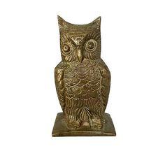 Vintage Brass Owl Figurine Woodland Decor Bird Statue Mid