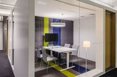 Alma Media's Helsinki Headquarters - Office Snapshots carpet and wall accent stripe