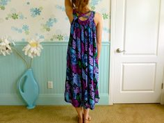 90's Bold Eggplant Purple Floral Grunge Relaxed Fit by LexAndLos, $27.00