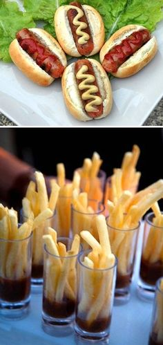 mini french fries with ketchup and mini hotdogs for the kids at the reception - adorable!