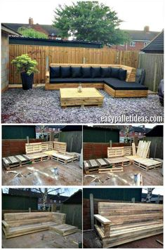 Tutorial: Pallet L-Shaped Sofa for Patio / Couch - Easy Pallet Ideas Pallet L-Shaped Sofa for Patio - Pallet Couch - Pallet Sofa - Pallet Ideas - Pallet Furniture - Pallet Projects Pallet Garden Furniture, Outdoor Furniture Plans, Outside Furniture, Pallets Garden, Diy Furniture, Antique Furniture, Rustic Furniture, Furniture Storage, Design Furniture