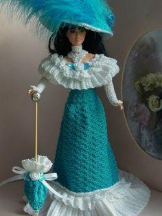 Olesya Kukolkina's photos Crochet Doll Dress, Crochet Barbie Clothes, Crochet Doll Pattern, Barbie Clothes Patterns, Doll Dress Patterns, Barbie Gowns, Barbie Dress, Glamour Dolls, Crochet Fashion