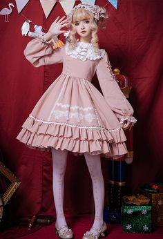 Searching for the best Sweet Lolita Dress online shop. Deluxe Sweet Lolita Lace Balloon Sleeves OP Dress ready to ship now! Harajuku Fashion, Kawaii Fashion, Lolita Fashion, Cute Fashion, Look Fashion, Kawaii Dress, Kawaii Clothes, Old Fashion Dresses, Fashion Outfits