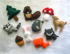 Felt Forest Animals Magnet Stuffed PART1 - Fox , Raccoon , Hedgehog , Bunny , Beaver , Boar , Fir-tree , Mushroom , Acorn , Bemby - Baby Toy. $49.99, via Etsy.