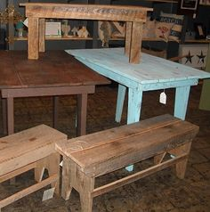 use wood with a past life, such as a barn, to re-purpose it in to furniture