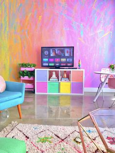 This Woman Has The Most Colorful Apartment You've Ever Seen And Even Unicorns Are Jealous Amina Mucciolo, aka Studio Mucci, is living a colorful life. Room Colors, House Colors, Room Colour Ideas, Room Ideas, Ikea White Shelves, Rainbow Bedroom, Rainbow Room Kids, Rainbow Stuff, Colorful Apartment