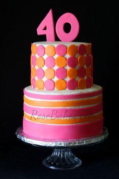 Pink and Orange Retro Birthday Cake