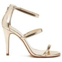Forever 21 Women's  Strappy Metallic Heels (40 CAD) ❤ liked on Polyvore featuring shoes, sandals, strappy stilettos, forever 21 sandals, metallic high heel sandals, forever 21 and strappy sandals