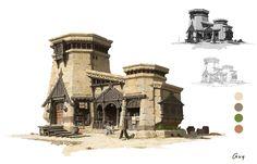 azugo (@azugo1) 喜歡的推文 / Twitter Fantasy Village, Fantasy Town, Fantasy Castle, Fantasy House, Environment Concept Art, Environment Design, Building Concept, Building Design, Fantasy Landscape