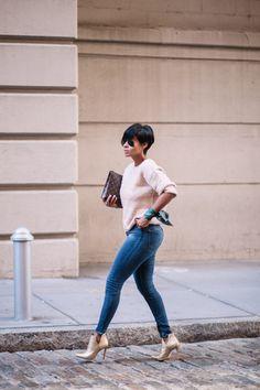 Shades, Beige Top, Blue Jeans, Bag, w/ Beige Heels