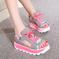 Summer candy colors spell color with a muffin platform sandals female fish head shook camouflage sandals clearance processing